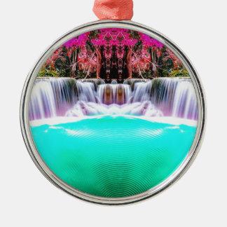 Psychedelischer Wasserfall Rundes Silberfarbenes Ornament