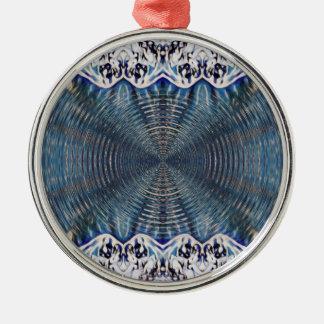 Psychedelischer Winter Rundes Silberfarbenes Ornament