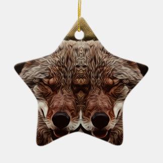 Psychedelischer Wolf Keramik Ornament