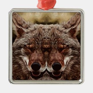 Psychedelischer Wolf Quadratisches Silberfarbenes Ornament
