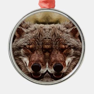 Psychedelischer Wolf Silbernes Ornament