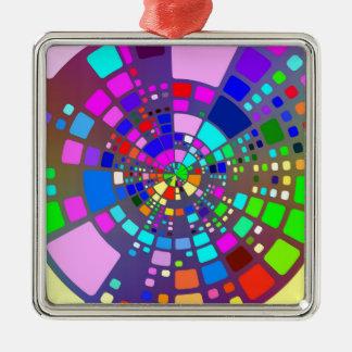 Psychedelisches #2 quadratisches silberfarbenes ornament