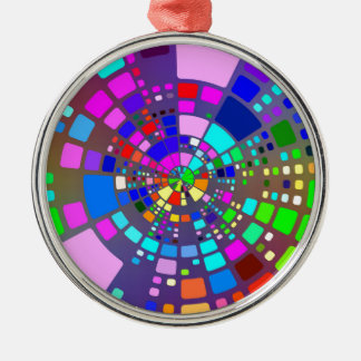Psychedelisches #2 rundes silberfarbenes ornament