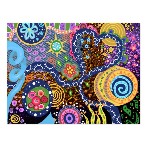 Psychedelisches abstraktes Muster Postkarten