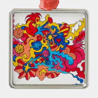 Psychedelisches Amerika Quadratisches Silberfarbenes Ornament
