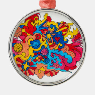 Psychedelisches Amerika Silbernes Ornament