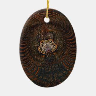 Psychedelisches Atom Ovales Keramik Ornament