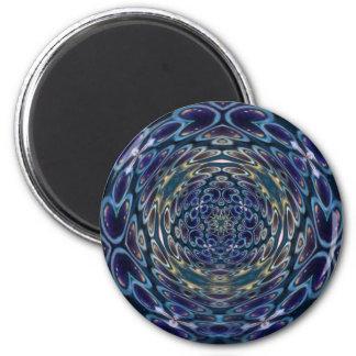 Psychedelisches Atom-Portal-Muster Runder Magnet 5,7 Cm