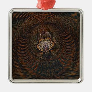 Psychedelisches Atom Quadratisches Silberfarbenes Ornament