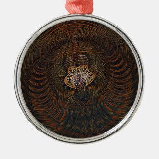 Psychedelisches Atom Rundes Silberfarbenes Ornament