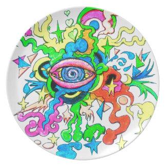 Psychedelisches Auge Teller