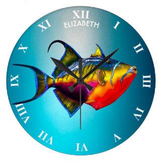 Psychedelisches buntes Triggerfish-Fisch-Zeichnen Große Wanduhr