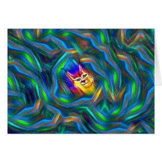 Psychedelisches Farbfluss-Luchs-Porträt Karte