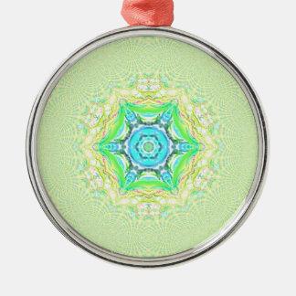 Psychedelisches flourescent flippiges Muster Rundes Silberfarbenes Ornament