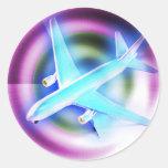Psychedelisches Flugzeug Runder Sticker
