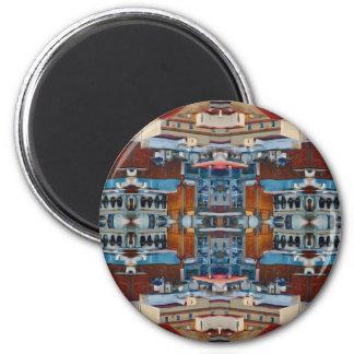 Psychedelisches Gebäude-Muster Runder Magnet 5,1 Cm