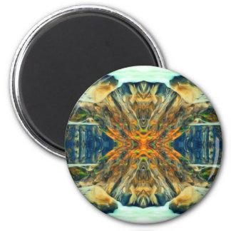 Psychedelisches Gebirgszug-Malerei-Muster Runder Magnet 5,7 Cm