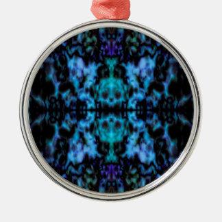 Psychedelisches Kaleidoskopmuster Rundes Silberfarbenes Ornament