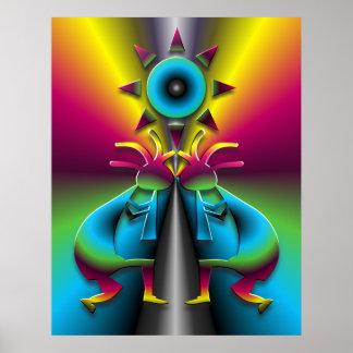 Psychedelisches Kokopelli #2 Poster