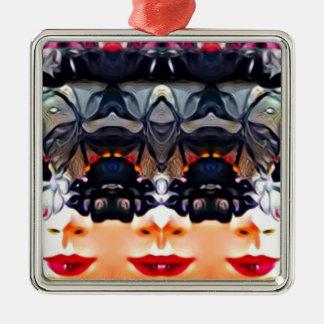 Psychedelisches Mädchen Quadratisches Silberfarbenes Ornament