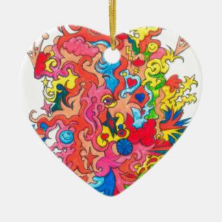 Psychedelisches Monster Keramik Herz-Ornament
