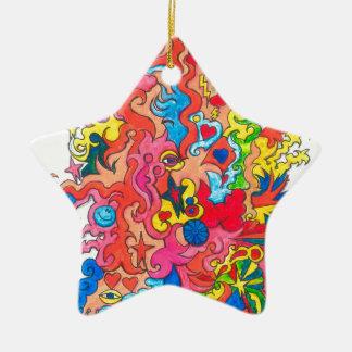 Psychedelisches Monster Keramik Stern-Ornament