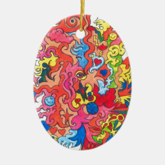 Psychedelisches Monster Ovales Keramik Ornament