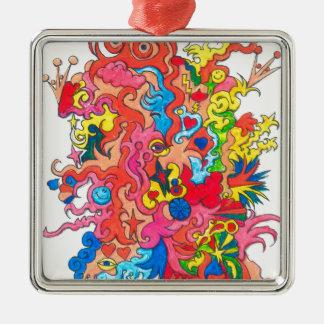 Psychedelisches Monster Quadratisches Silberfarbenes Ornament