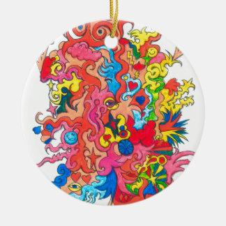 Psychedelisches Monster Rundes Keramik Ornament
