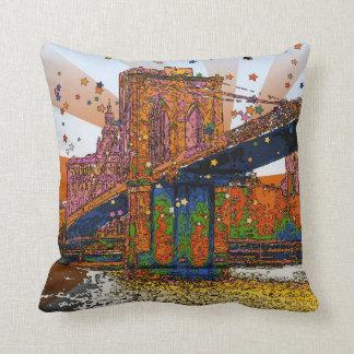 Psychedelisches NYC: Brooklyn-Brücke #1 Kissen