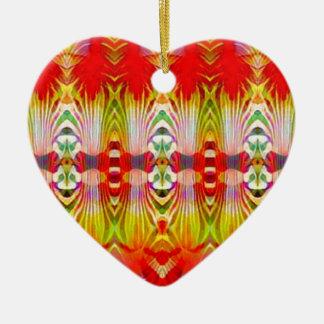 Psychedelisches rotes Gelb Keramik Ornament