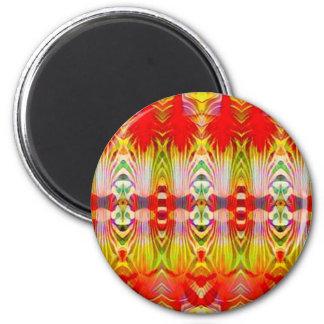 Psychedelisches rotes Gelb Runder Magnet 5,1 Cm