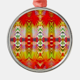 Psychedelisches rotes Gelb Silbernes Ornament