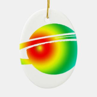Psychedelisches Saturn Ovales Keramik Ornament