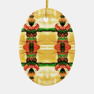 Psychedelisches Schutz-Gelbgrün Ovales Keramik Ornament