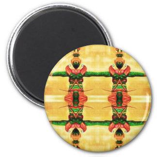 Psychedelisches Schutz-Gelbgrün Runder Magnet 5,7 Cm