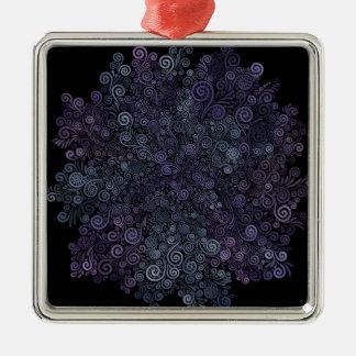psychedelisches violettes 3d und aquamarin silbernes ornament
