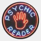 Psychische Leser-Leuchtreklame Runder Aufkleber