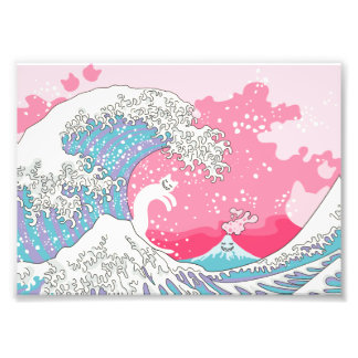 Psychodelic Bubblegum Kunagawa Surfer-Katze Fotodruck