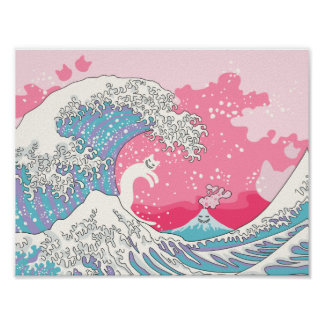 Psychodelic Bubblegum Kunagawa Surfer-Katze Poster