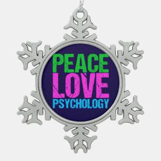Psychologe-FriedensLiebe-Psychologie Schneeflocken Zinn-Ornament