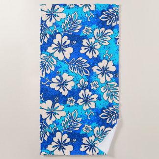 Pua Aloha hawaiisches Herz-geformtes Hibiskus-Blau Strandtuch