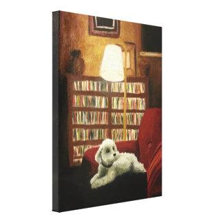 Pudel auf Stuhl-Haustier-Porträt Leinwanddruck