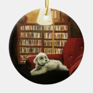 Pudel auf Stuhl-Haustier-Porträt Rundes Keramik Ornament