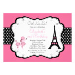 Pudel-Geburtstags-Party Einladungen Paris rosa