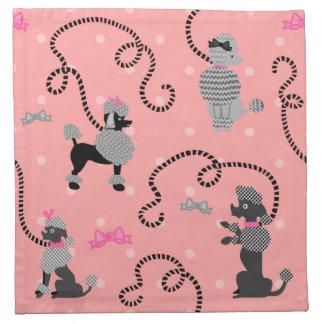 Pudel-Rock-Retro rosa und schwarzes 50er Muster Serviette