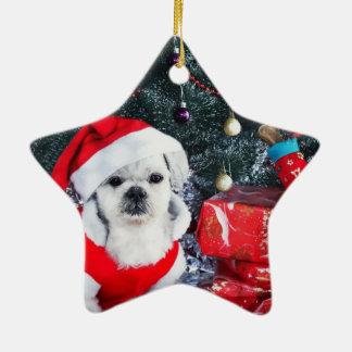 Pudel Sankt - Weihnachtshund - Weihnachtsmann-Hund Keramik Stern-Ornament