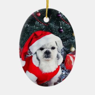 Pudel Sankt - Weihnachtshund - Weihnachtsmann-Hund Ovales Keramik Ornament