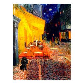 Pudel (Schwarzes 1) - Terrasse-Café Postkarte