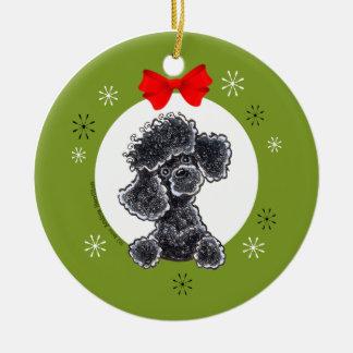 Pudel-schwarzes Spielzeug-Weihnachten Rundes Keramik Ornament